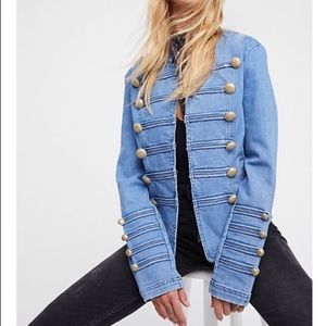 Free people denim jacket with gold buttons